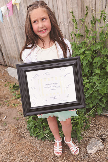 Signature Keepsake Frame Christening Party Idea