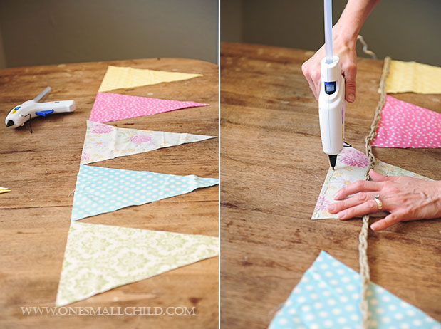 DIY No Sew Bunting Tutorial Layout Glue