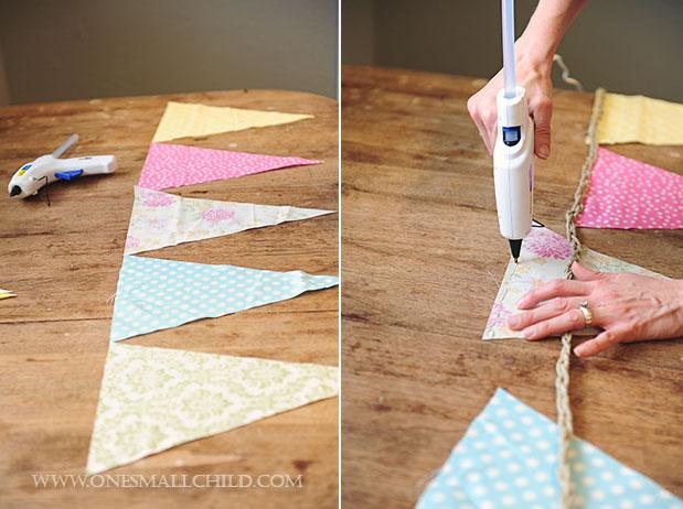 DIY No Sew Bunting Tutorial Layout Glue